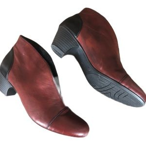 RIEKER ANKLE BOOTS RED BLACK HEEL PULL ON